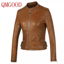 QMGOOD Lady Autumn/winter PU Jacket Short Leather Slim Jacket 2017 New Fashion Women's Leather Jacket Brown Black Faux Leather(China)