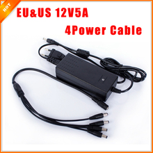 EU & US Cord 12V 5A Surveillance Camera 1 Split 4 Power Cable Adapter for Security System CCTV Power Supply