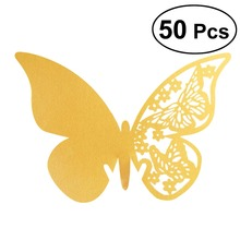 50 PCS Hollow Butterfly Style Wedding Table Paper Place Card Escort Name Cards Wine Glass Card for Wedding Engagement Party(China)