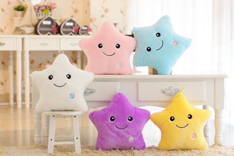 Colorful Body Pillow Cushion Star Glow LED Luminous Light travel Pillow Cushion Soft Relax Gift Smile 5 Colors Body Pillow 1