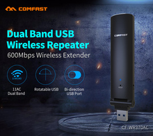 COMFAST 600mbps wireless repeater wifi usb 3.0 antenna wi fi signal amplifier 2.4ghz + 5.8ghz mini usb repeater CF-WR370AC(China)