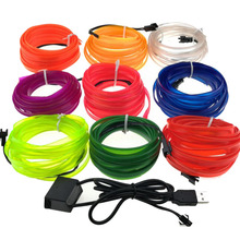 1M 2M 3M 5M 8mm Sewing Edge Neon Light Dance Party Car Decor Light Neon Flexible EL Wire Rope Tube LED Strip With 5V USB Plug
