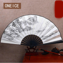 ONEICE Free Shipping 10 Inches Silk Big Folding Hand Fan Chinese Style Men's Antique Bamboo Handcrafted Gift High Quality(China)