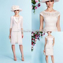 2016 Sheath Lace Cap Sleeves Mother Of the Bride Dresses With Jacket Knee Length Evening Dress Mothers' Suit vestido de madrinha
