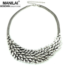 MANILAI Vintage Chunky Chain Multilayer Metal Squama Collar Chokers Necklace Women Statement Necklaces & Pendants Maxi Jewelry