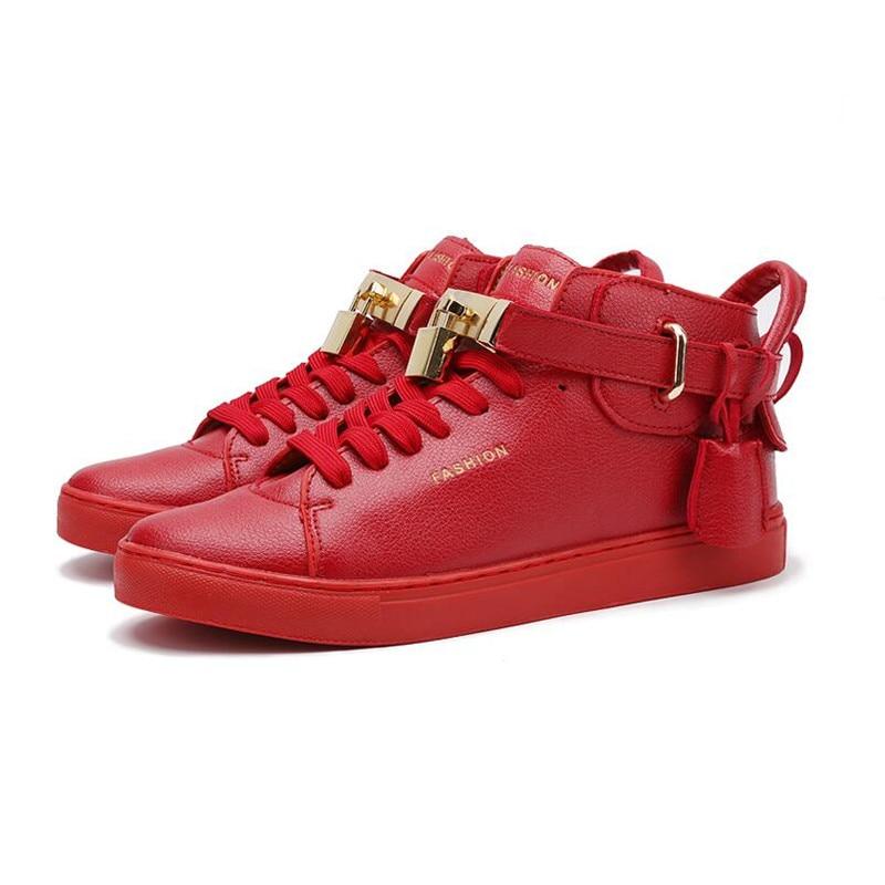 Men High Top Casual Shoes Brand Punk Rock Shoes Baskets mens Hip Hop Shoes 2016 Leather Lock Shoes Zapatillas Hombre XX043<br>