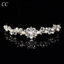 New 2016 Brand Fashon Bijoux Femme Hair Jewelry Gift  Simulated Pearl&Top Crystal Tiara Crowns for Women Bridal Accessories F032