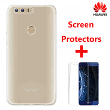 100% Official Huawei Honor 8 TPU Transparent Soft Case Luxury Back Cover Case + Screen Protectors with Original Retailed Package