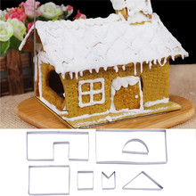 7Pcs/Lot 3D Christmas Gingerbread House Stainless Steel Cookie Cutter Set DIY Biscuit Mold Pastry Cake Stamp Baking Tools