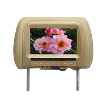 7 inch TFT LCD Screen Car Video Products General Car Headrest Monitor Beige color AV USB SD MP5 speaker three color SH7038-MP5
