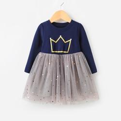Коллекция 2018 года, весеннее платье для девочек Одежда для девочек с принтом платье принцессы с длинными рукавами для девочек, Детский костю...