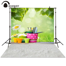 Allenjoy photography backdrop spring flower flowerpot tool green background for photo studio photocall photo booth