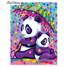 REALSHINING 5d Diy Diamond Painting Full Square Rhinestone Cross Stitch Embroidery Kits Umbrella Panda Mosaic Needlework DM293