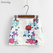 Buy Womens New Fashion Florals Print Mini Skirt Ladies High Waist Back Zipper Cotton Blend White Skirts Saias 2017 Summer SK141 for $10.11 in AliExpress store