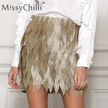 Buy MissyChilli Gold leaf embroidery shorts skirt Sexy women party club leather high waist skirt Female micro skort PU latex skirt