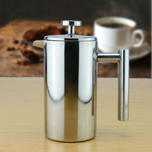 Double wall Stainless Steel Coffee Plunger French Press Tea Maker Cafetiere Permanent Coffee Filter Baskets Espresso Maker(China)