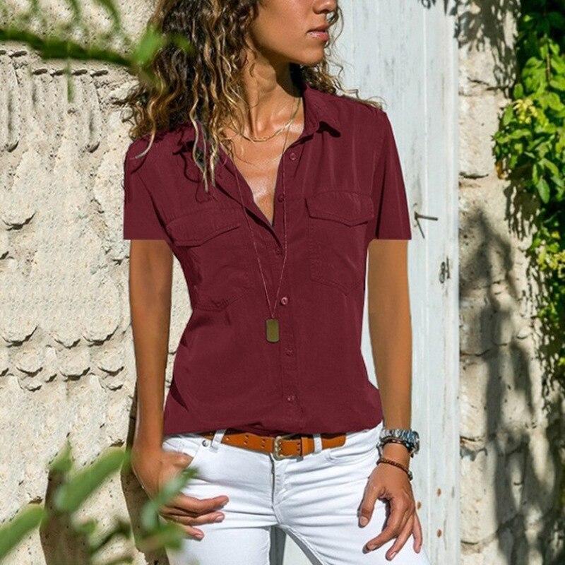 Office Summer Blouse Women Plus Size Elegant Blusas Mujer 2019 Womens Tops and Blouses Shirt Top Femme Women Blouse Short Sleeve5