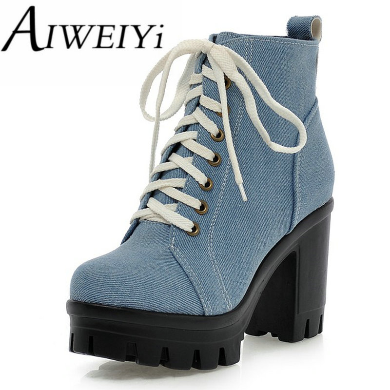 AIWEIYi Women Ankle Boots 2017 Round toe Denim Skin Square Heel High Heeled Shoes Woman Lace-up Platform Women Boots Botas<br><br>Aliexpress