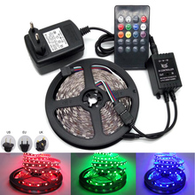 5050 RGB IP65 LED Strip With DC12V US EU Power Adapter Music Controller Remote Party Dancing Party Disco LED Diode Tape Lampada