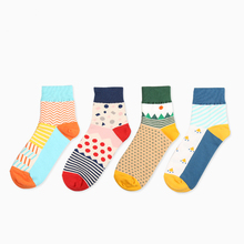 Fashion Men Brand Happy Socks Art geometry creative printing Cotton sock male Business Casual man sox(China)