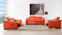 real genuine leather living room sofa set furniture / living room sofa recliner 1+2+3 seater orange color for stock discount