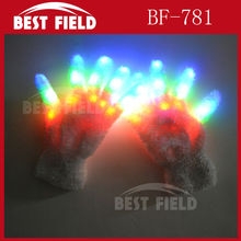 new arrival Free Shipping 10pcs(5pairs)/lot 22*11CM LED Rave Flashing Gloves Glow 7 Mode Light Up Finger Lighting glove white(China)