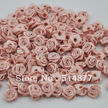 15 mm 100pcs wholesale Satin Ribbon Flower Rose trimming sewing Lots Coffee color