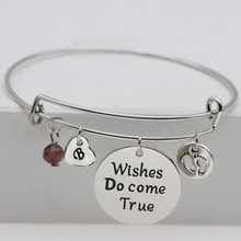 "Newest Letter Bangles Exquisite Crystal Adjustable ""Wishes Do come Ture"" Pulsera Jewelry Best Birthday Gift for Friend  YP3166"