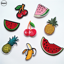 1 PCS Coconut trees parches Embroidered Iron on Patches for Clothing DIY Stripes Clothes Pineappl Stickers Lollipop Badge @S