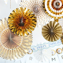Buy 1 set, 8pcs Gold Party Ivory Gold Pinwheels Party Fans Party Paper Rosettes Paper Pinwheels Photo Backdrop Golden Wedding Decor for $18.35 in AliExpress store