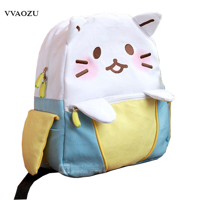 Fashion Kawaii Banana Canvas Women Backpack Schoolbag Female Lovely Cat Student Lolita Shoulder Bag<br>