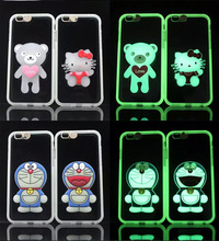 Noctilucent Mickey Minnie Stitch Rilakkuma Winnie Mike James Pokonyan Doraemon Case Cover With Lanyard For iPhone 6 6G 4.7inch