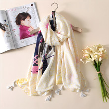 2017 spring summer fashion folk style retro Scarf Shawl female scarves thin soft printing characters all-match dual women Shawl