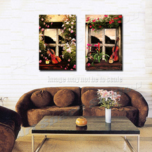 Wall Decoration Window Flowers Landscape Picture Print on Canvas Modern Floral Poster for Living Room,Dining Room Decor No Frame