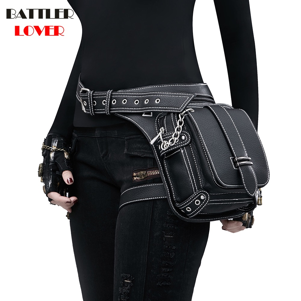 Lady Pockets Retro Waistbag Messenger Bag Punk Mujer Femme Women Hiking Waist Bag Womens High Quality PU Leather Travel Leg Bag