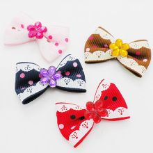 Armi store Handmade Puppy Grooming Accessories Polka Dot Lace Ribbon Hair Bow 29012 Dog Wholesale Supplies