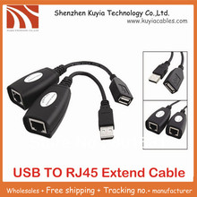 KUYiA Free Shipping New USB Extention Cable USB to Rj45 LAN Extension cable Adapter(China)