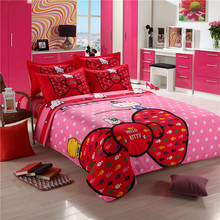 Lovely cartoon red hello kitty bedding set 4pcs duvet cover bed sheet children adult student home textile bed linen pillowcase
