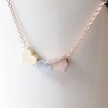 Simple Trendy Rose Gold Silver Color Three Heart Pendant Necklace Fashion Women Lovely Valentine Gift Statement Necklace Jewelry