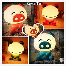 Kids Gift 3D Cute Pig LED Night Light Novel Frog Table Lamps Baby Feeding NightLights Children Bedroom Living Room Home Decor