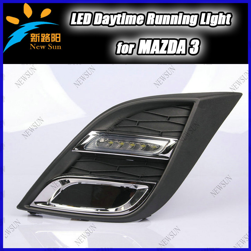 Ultra-bright LED daytime running lights DRL with fog lamp cover for Mazda 3 2011-2012 Auto Car DRL Fog Lamp cheap shipping cost<br><br>Aliexpress