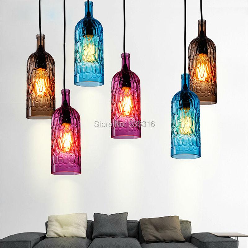 Brief Modern simple pendant light colorful Glass wine bottle indoor lighting bar shop restaurant reception hanging light fixture<br>