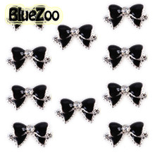 BlueZoo 10pcs Black 3d Alloy Bow Tie Nail Rhinestones Decorations Nail Art DIY Decoration Glitters Slices Beauty Nail Stud Tips