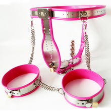 Buy Stainless steel male chastity belt penis cage bdsm bondage set sexy panty thigh ring cock cage chastity device sex toys men
