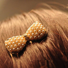 Hot! Hot New 2017 Fashion Simulation Pearl Bow Insert Comb Hair Comb Bangs Jewelry Accessories Headwear Pearl   CJWD07