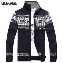 Plus size 3XL Men Cardigan 2017 New Winter Men's Casual Keep Warm Zipper Male Cardigan Stand Collar Geometric Knitted Sweater