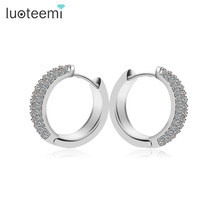 LUOTEEMI Brand AAA Cubic Zirconia Ear Cuff  Earrings High Quality White Gold-Color Factory Wholesale Big Ear Clip Women Jewelry