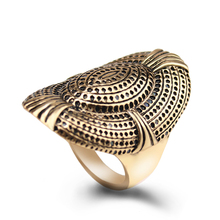 Women's Vintage Rings Exaggerated Retro Gold Color Creative Oval Mesh Shield Shape Party Ring Fashion Jewelry JZ0779(China)