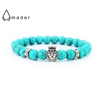 Trendy Charm Lion Bracelets Unisex Mulit-color Natural Lava Stone Energy Strand Prayer  Beads Buddha Lucky Bracelets