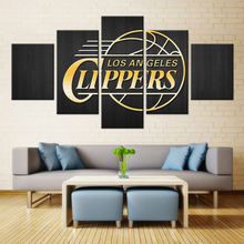 5 Panel Los Angeles Clippers Of Basketball Team Canvas Modern Wall Painting Fans Poster Fashion Modern Canvas Printed Painting